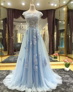 61ae17a78a0 light blue lace appliques tulle A-line cap sleeves charming 2018 cheap prom  dress