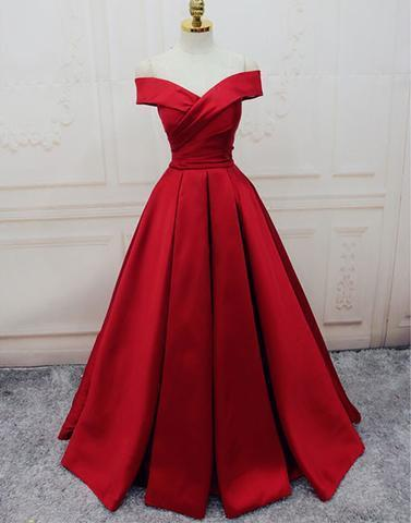 off shoulder red A-line satin long formal prom dress, PD8373