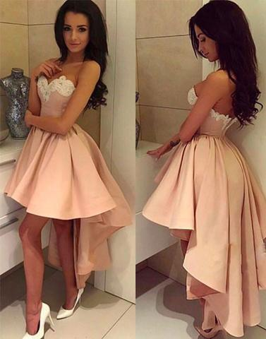 hi-lo homecoming dress, pink homecoming dress, 2018 prom dress, sweetheart homecoming dress, cheap homecoming dress, BD3901