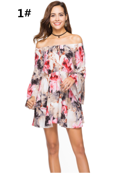 Summer Printed Dress Elastic Waistband Off the Shoulder Sweep Train Dress,CQ00040