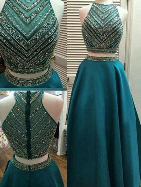 2 Pieces Beaded Long Prom Dresses Green Satin Evening Dresses A-Line Formal Dresses