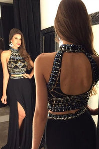 2 Pieces Beaded Long Prom Dresses High Neck Evening Dresses A-Line Formal Dresses with High Slit