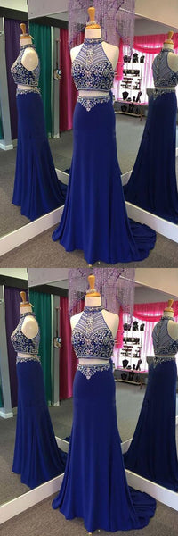 2 Pieces Beaded Long Prom Dresses High Neck Evening Dresses Mermaid Formal Dresses
