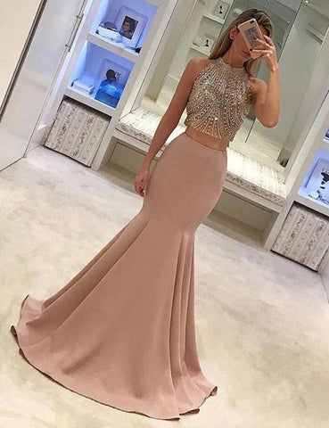 2 Pieces Beaded Long Prom Dresses Mermaid Evening Dresses High Neck Formal Dresses