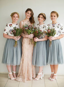2 Pieces Bridesmaid Dresses Tulle Short Bridesmaid Dresses