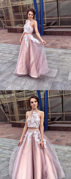 2 Pieces Halter Long Prom Dresses Applique Evening Dresses A-Line Formal Dresses