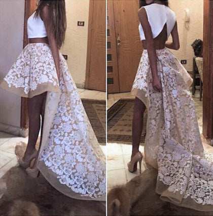 2 Pieces Hi-Lo Homecoming Dresses Applique Evening Formal Dresses