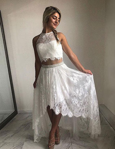 2 Pieces High-Low Long Prom Dresses Lace Evening Dresses Halter Formal Dresses
