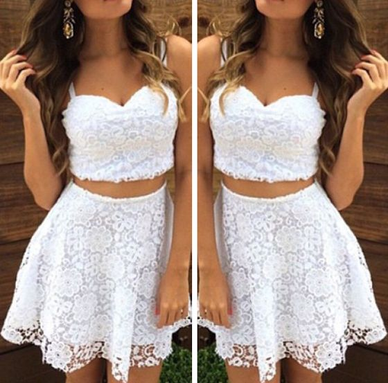 2 Pieces Homecoming Dresses Lace Short Homecoming Dresses Spaghetti Straps Homecoming Dresses