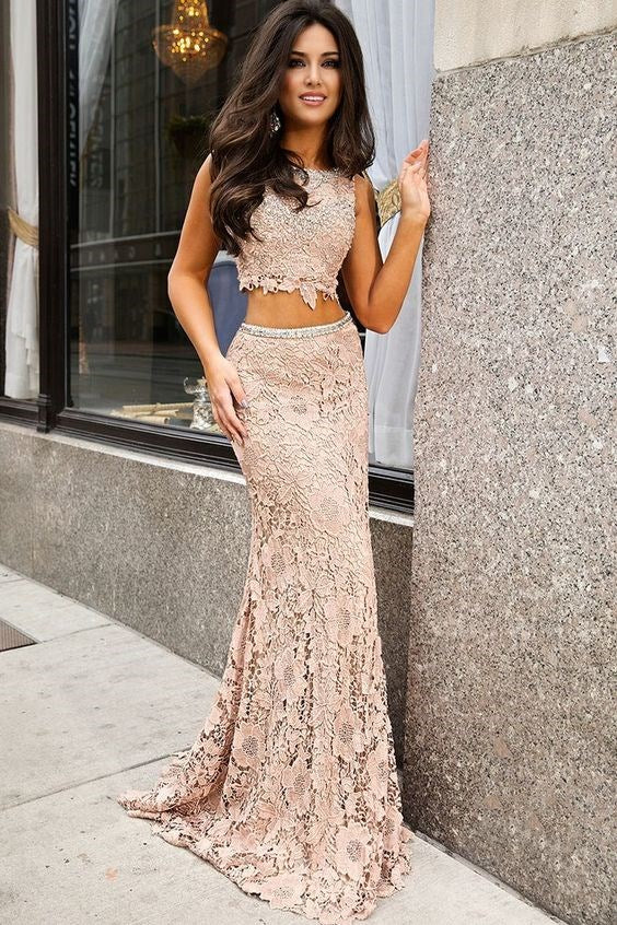 2 Pieces Lace Beaded Long Prom Dresses Mermaid Evening Formal Dresses