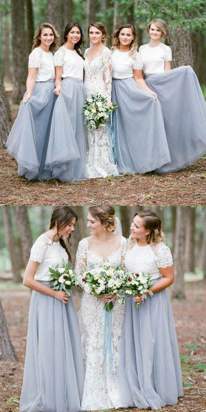 2 Pieces Long Bridesmaid Dresses A-line Bridesmaid Dresses Lace Tulle Bridesmaid Dresses,MG0151