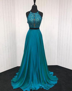 2 Pieces Long Prom Dresses Beaded Evening Dresses A-Line Formal Dresses
