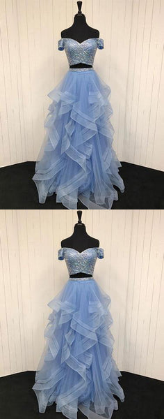2 Pieces Long Prom Dresses Beaded Evening Dresses Off the Shoulder Formal Dresses