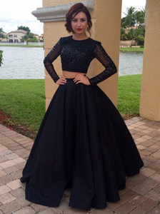 2 Pieces Long Prom Dresses Beaded Evening Dresses Satin Long Sleeve Formal Dresses