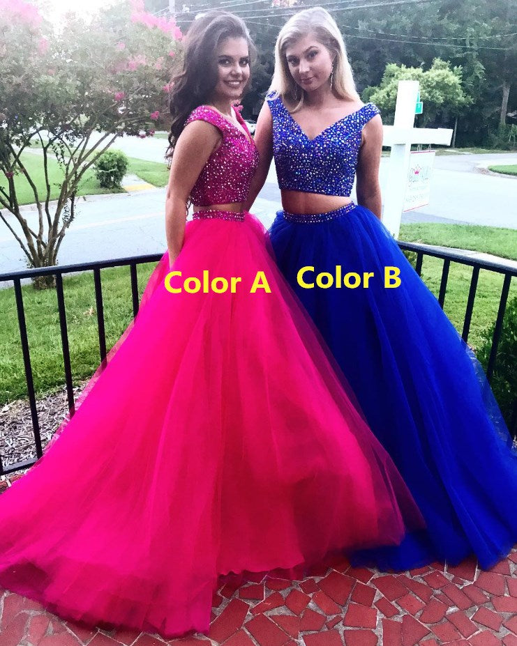 2 Pieces Long Prom Dresses Beaded Evening Dresses V-Neck Tulle A-Line Formal Dresses