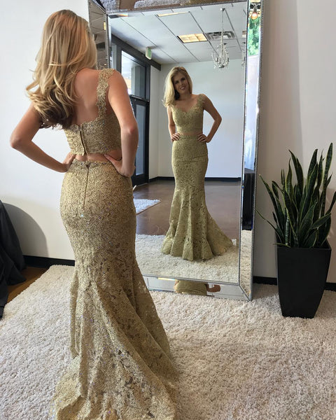 2 Pieces Long Prom Dresses Beaded Lace Evening Dresses Mermaid Formal Dresses