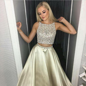 2 Pieces Long Prom Dresses Beading Satin A-Line Evening Formal Dresses