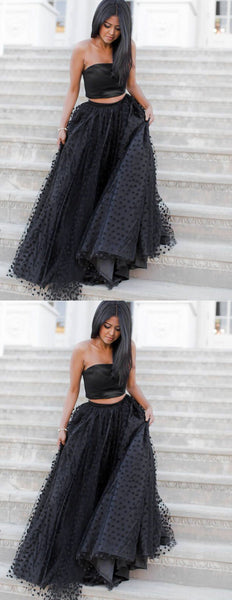 2 Pieces Long Prom Dresses Black Evening Dresses A-Line Formal Dresses