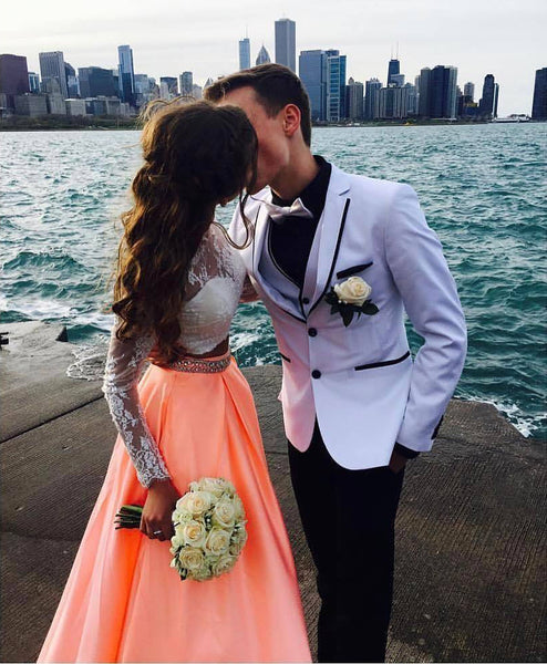 2 Pieces Long Prom Dresses Lace Satin Evening Dresses Long Sleeve A-Line Formal Dresses