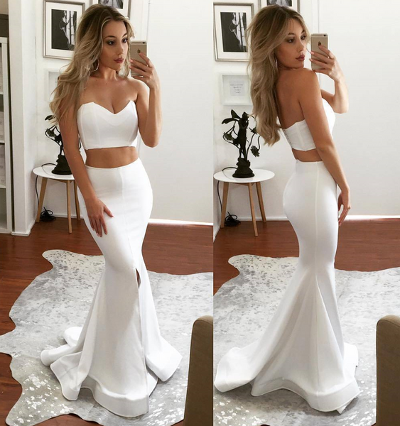 2 Pieces Long Prom Dresses Mermaid Evening Dresses White V-Neck Formal Dresses
