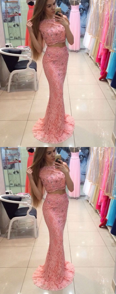 2 Pieces Long Prom Dresses Pink Evening Dresses Mermaid Beaded Formal Dresses