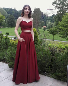 2 Pieces Long Prom Dresses Spaghetti Straps Evening Dresses A-Line Formal Dresses