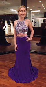 2 Pieces Purple Long Prom Dresses Beaded Evening Dresses Mermaid Formal Dresses
