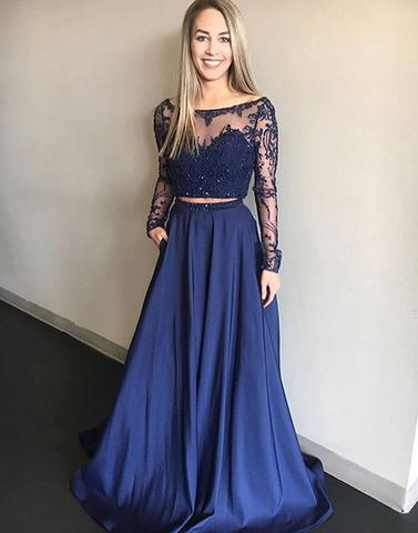 2 Pieces Satin Long Prom Dresses Lace Evening Dresses Long Sleeve A-Line Formal Dresses