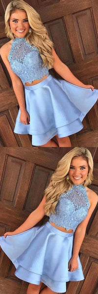 2 Pieces Short Homecoming Dresses Lace Homecoming Dresses Pale Blue Short Homecoming Dresses