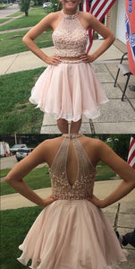 2 Pieces Short Homecoming Dresses Pearls Beaded Short Homecoming Dresses