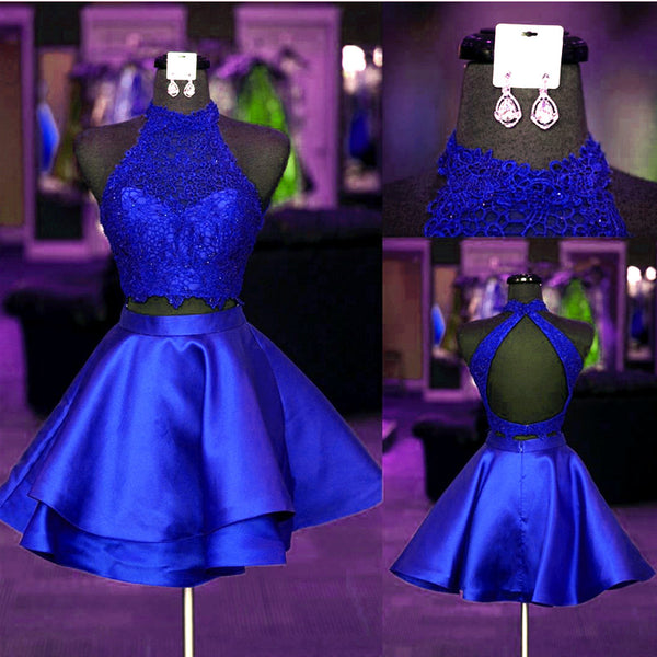 2 Pieces Short Homecoming Dresses Royal Blue Short Homecoming Dresses Backless Satin Short Homecoming Dresses