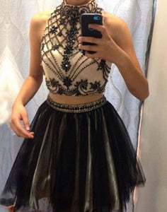 new homecoming dress, short prom dress, two pieces homecoming dress, A-line homecoming dress, junior prom dress, BD3898