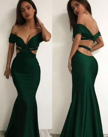 dark green sexy mermaid off shoulder long prom dress , PD1294