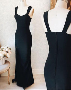 black cheap long simple evening dress with side slit, PD45693