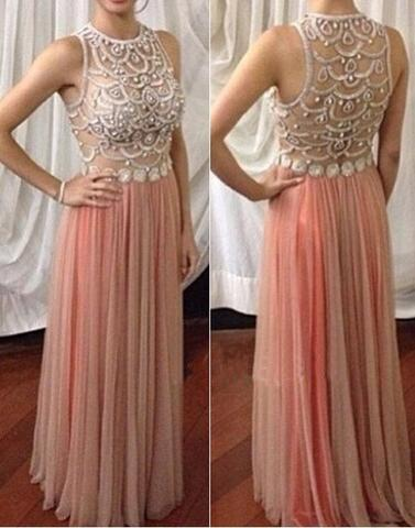blush pink tulle long see through back cheap prom dress , PD1292