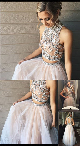 2018 gorgeous 2 pieces homecoming dress beaded crystal prom dress a-line tulle prom gowns,HS113