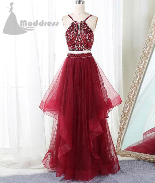 2 pieces homecoming dress sleeveless long prom dress a-line evening dress,HS343