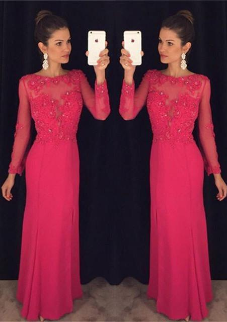 hot pink prom dress, long sleeves prom dress, formal prom dress, charming prom dress, evening gown 2017, BD121