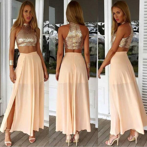 two pieces prom dress, tea-length prom dress, side slit prom dress, high neck prom dress, sparkle evening dress, BD99