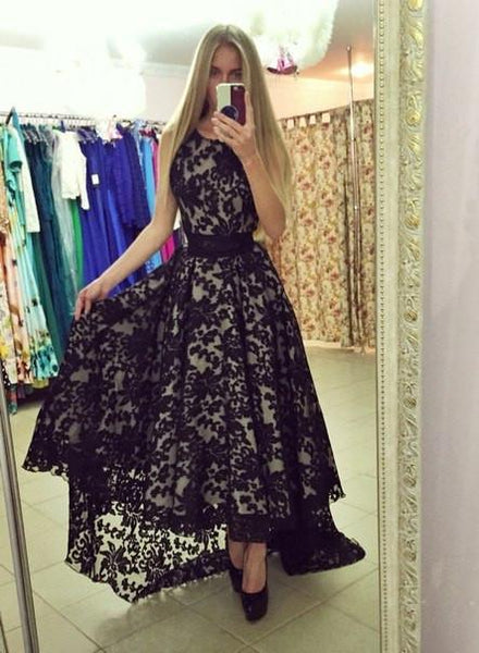 lace prom dress, hi-lo prom dress, black prom dress, charming prom dress, unique evening gown 2017, BD125