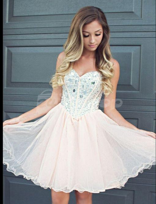 short homecoming dress, light pink prom dress, tulle homecoming dress, BD1464