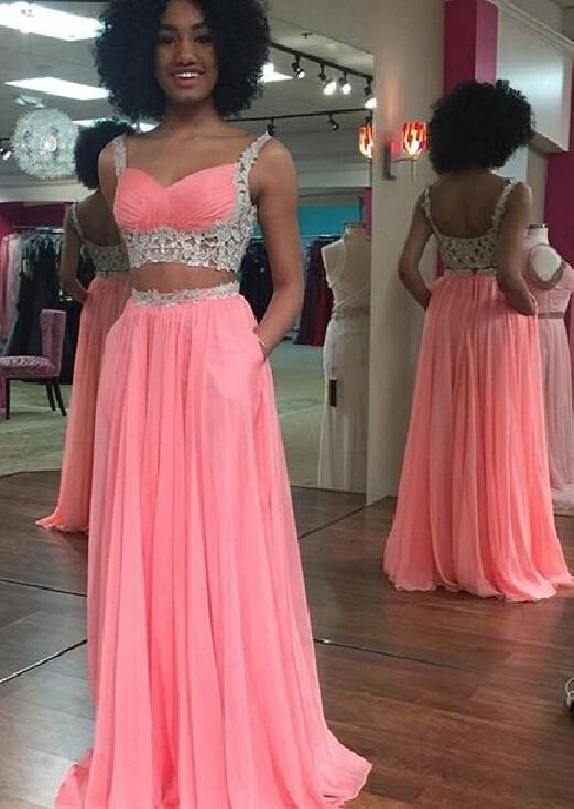 pink prom dress, long prom dress, two pieces prom dress, chiffon prom dress, evening dress 2018, BD133