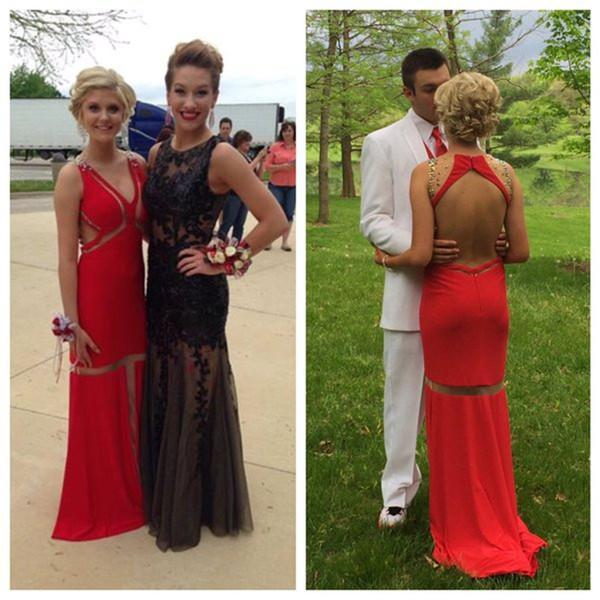 red prom dress, long prom dress, backless prom dress, open back prom dress, charming evening dress, BD135