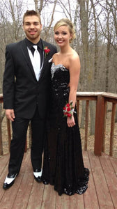 black sequin prom dress, long prom dress, cheap evening gown, BD115
