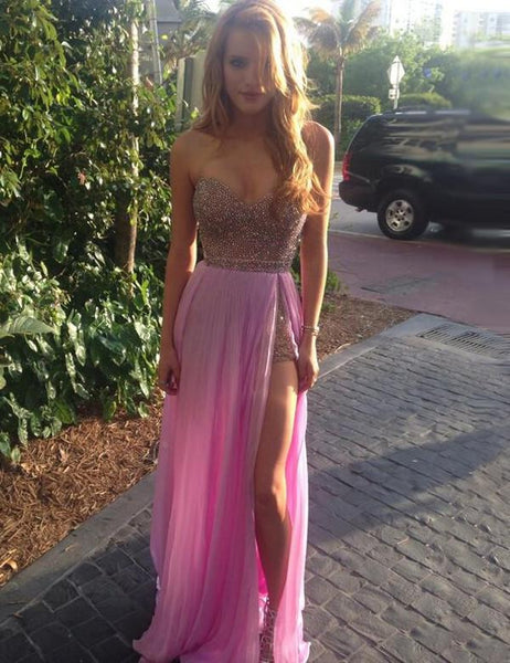 long prom dress, sexy prom dress, sweetheart prom dress, side slit prom dress, charming evening gown, BD113