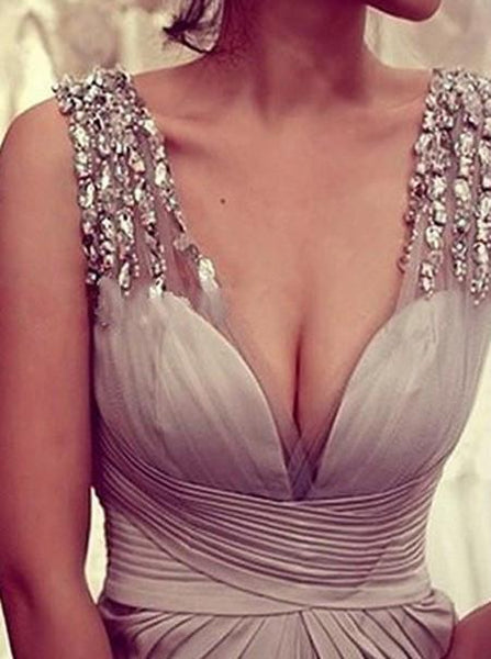 gray prom dress, long prom dress, formal prom dress, v-neck prom dress, evening dress 2018, BD104