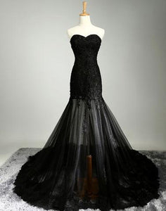 cheap sweetheart black lace mermaid long prom dress, PD8529