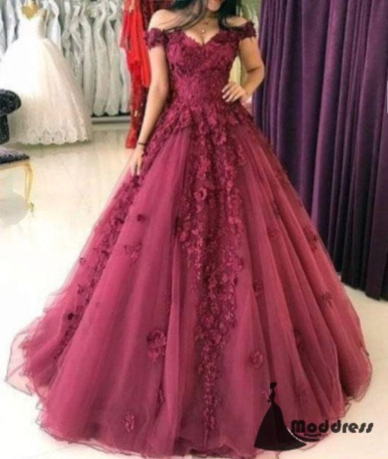 3D Floral Applique Long Prom Dress Off the Shoulder A-Line Evening Dresses,HS448