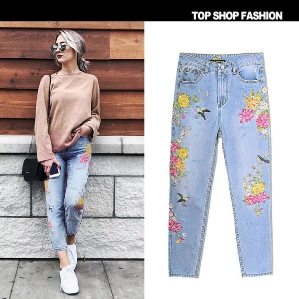 3D Stereo Heavy Bird Flower Casual Trousers Embroidery High Waist Straight Irregular Frayed Jeans Pants,NZ0006