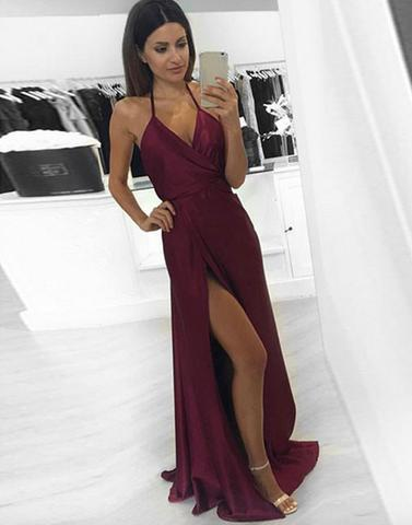 dark halter long prom dress, side slit evening dress, PD1295